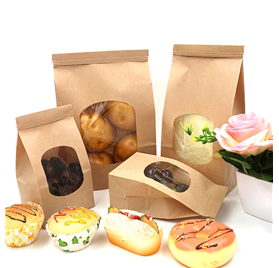 Paper bags with clear window and metal clasp