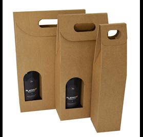 Caja para botella kraft para 1 2 o 3 botellas