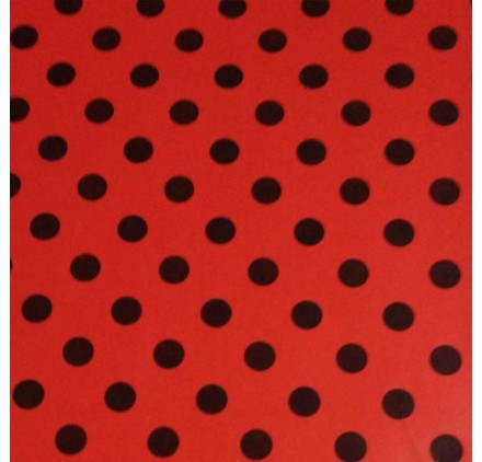 Papel de embrulho vermelho pontos pretos
