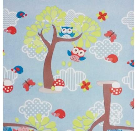 Papel de embrulho infantil floresta azul