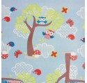 Children wrapping paper blue forest