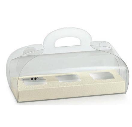 Caixa transparente 185x60x80mm com fundo pele branco