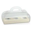 Boîte de 185x60x80mm transparent avec fond de peau blanche