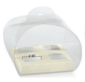 Caixa transparente 120x120x100mm com fundo pele branco