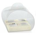 Boîte de 120x120x100mm transparent avec fond de peau blanche