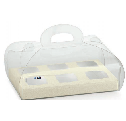 Caixa transparente 185x120x80mm com fundo pele branco