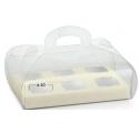 Scatola trasparente 185x120x80mm con sfondo bianco pelle
