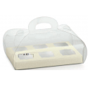 Transparent 185x120x80mm box with white skin background
