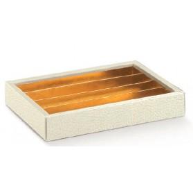 Caixa pele branca com tampa transparente e separadores 215x145x35mm