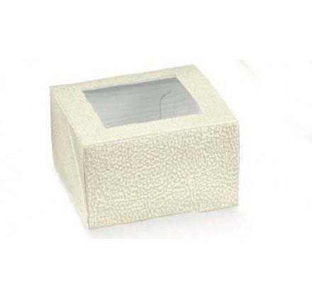 Caixa retangular pele branca com janela para bolos 100x100x60mm