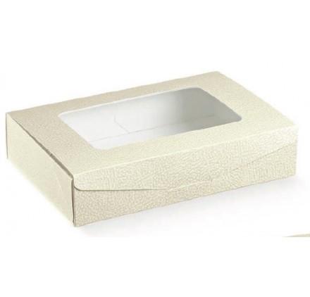 Caixa retangular pele branca com janela para bolos 240x160x50mm