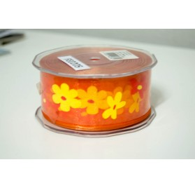 Fita organza laranja aramada com flores