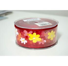 Fita organza vermelha aramada com flores