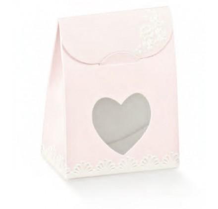 Caixa shabby chic sacchetto com janela coração 60x35x80mm