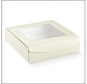 Caixa retangular pele branca com janela para bolos 260x260x70mm