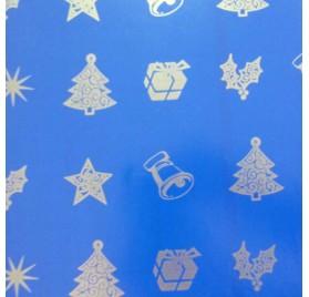 papel de embrulho liso azul natal