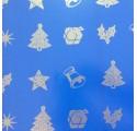 Papel de regalo azul con dibujos de navidad