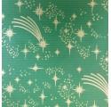Papel de regalo kraft verjurado natural verde con dibujos de navidad