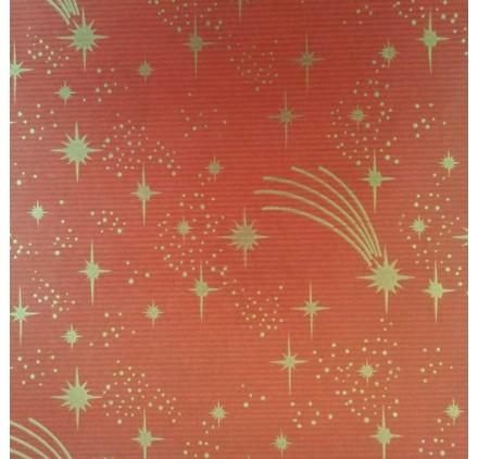 papel de embrulho kraft verjurado natural vermelho estrelas