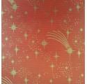 Papel de regalo kraft verjurado natural rojo con estrellas
