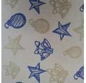 Papel de regalo kraft verjurado natural con dibujos de navidad2 en oro y azul