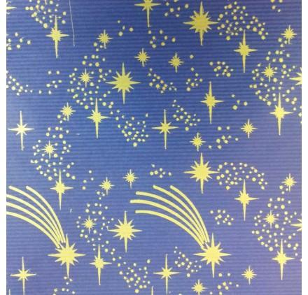 papel de embrulho kraft verjurado natural azul estrelas