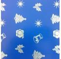 Papel de regalo azul liso con dibujos de navidad