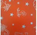 Papel de regalo rojo liso con dibujos de navidad3