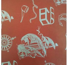 papel de embrulho kraft verjurado natural vermelho barcos