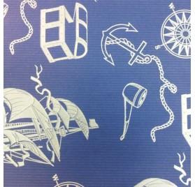 papel de embrulho kraft verjurado natural azul barcos