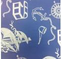 Papel de regalo kraft verjurado natural azul con dibujos de piratas