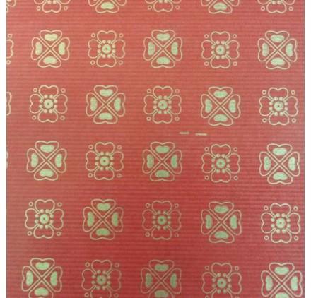 papel de embrulho kraft verjurado natural vermelho trevos