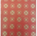 Papel de regalo kraft verjurado natural rojo con tréboles