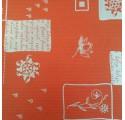 Papel de regalo kraft verjurado natural rojo con flores