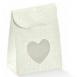 Saco tela bianco com janela coração 60x35x80mm