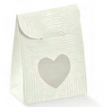 Screen bag bianco with heart window 60x35x80mm