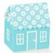 Caixa atelier azul casinha flores 60x40x70mm