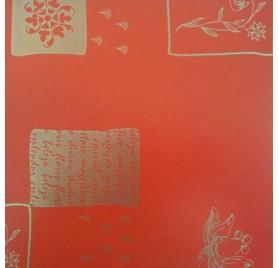 papel de embrulho kraft verjurado natural vermelho flores