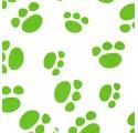 Papel de regalo blanco liso con huellas verdes