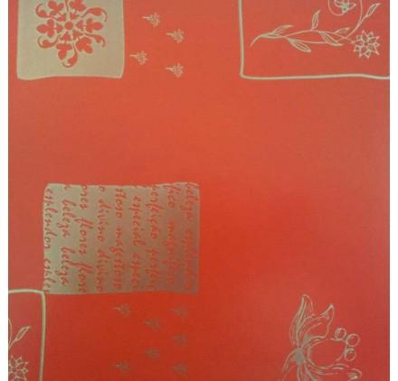 papel de embrulho liso vermelho flores douradas