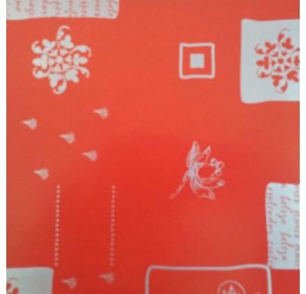papel de embrulho liso vermelho flores prateadas