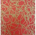 Papel de regalo liso rojo con lineas oro