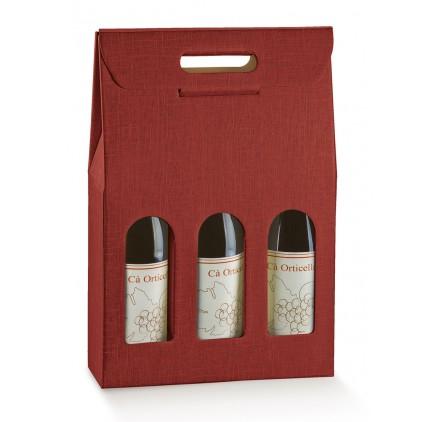 Caixa Cartão 3 Garrafas Seta Bordeaux
