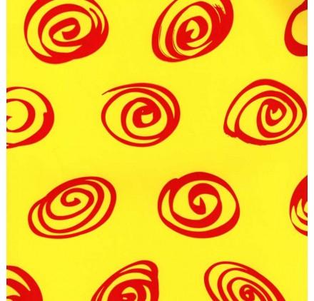 papel de embrulho liso amarelo espirais vermelhas