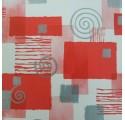 Papel de regalo blanco liso con cuadrados y espirales en rojo y plata