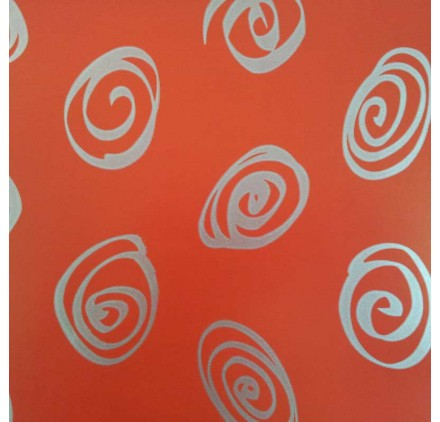 papel de embrulho liso vermelho espiral prata