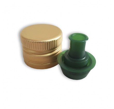 Tampa roscada dourada com vertedor verde - garrafas