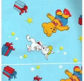 papel de embrulho liso azul bebe coelhos ursos