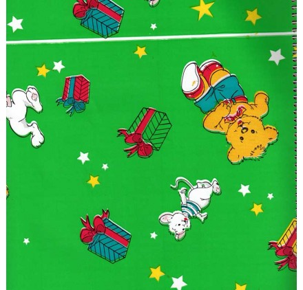 papel de embrulho liso verde coelhos ursos