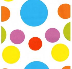 papel de embrulho liso branco bolas varias cores